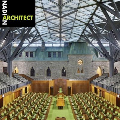 La réhabilitation de l'Édifice de l'Ouest en couverture du Canadian Architect – Mars 2019