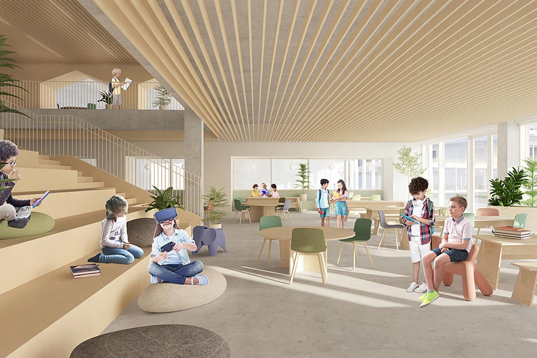Collège Saint-Anne, nouveau pavillon préscolaire et primaire<br>En cours<br>